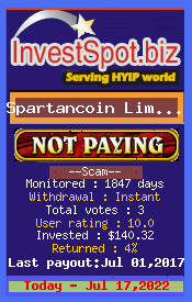 Spartancoin Limited - Monitored by HYIP Monitor InvestSpot