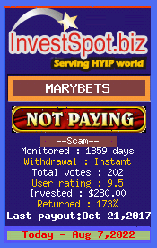 MARYBETS - Monitored by HYIP Monitor InvestSpot