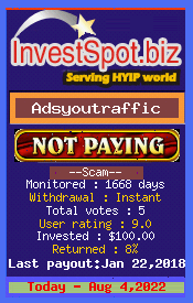 Adsyoutraffic - Monitored by HYIP Monitor InvestSpot