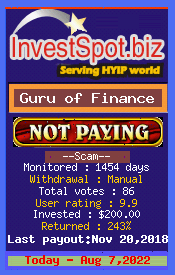 Guru of Finance - Monitored by HYIP Monitor InvestSpot