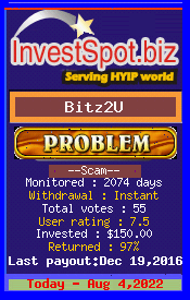 Bitz2U - Monitored by HYIP Monitor InvestSpot