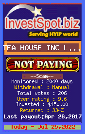 TEA HOUSE INC LIMITED - Monitored by HYIP Monitor InvestSpot