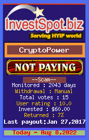 CryptoPower - Monitored by HYIP Monitor InvestSpot