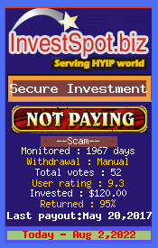 Secure Investment - Monitored by HYIP Monitor InvestSpot